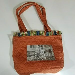 Orange quilted tote bag with photo front  NWT